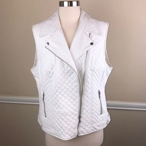 Inc faux leather white moto vest